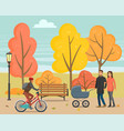 people walking in autumn park with kid or bike vector image vector image