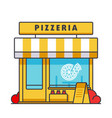 pizzeria building flat line concept vector image vector image