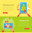 poster of pictures with christmas tree and sale vector image vector image