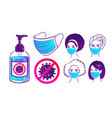 protection items and people in face masks vector image vector image