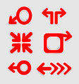 red arrow sticker icon on white background vector image vector image