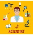 Scientist and laboratory equipment flat icons vector image