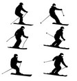 set mountain skier speeding down slope sport vector image