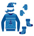 set of winter warm knit clothes vector image