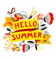 summer floral banner enjoy summer lettering cute vector image vector image