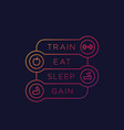 train eat sleep gain fitness poster vector image