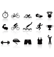 triathlon sport icon set vector image vector image