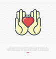 two hands holding heart thin line icon vector image