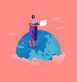 woman stand on earth globe with laptop analysing vector image