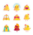 funny chicken cartoon character icons set vector image