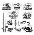 vintage labels set for fishing club logos vector image