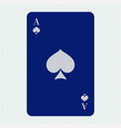 ace spades blue icon on lined paper background vector image