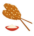 almond dish fast food snack and sauce isolated vector image