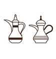 arabic coffee pot and turkish kettle icons vector image vector image