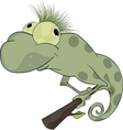 Big green Chameleon cartoon vector image vector image