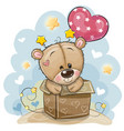 birthday card with teddy bear and balloon vector image