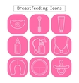 Breastfeeding motherhood flat white icons on a vector image vector image