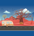 camping trailer on desert road vector image vector image