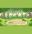 cartoon forest background vector image vector image