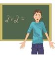 cartoon image of a perplexed boy at blackboard in vector image vector image