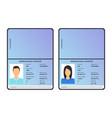 cartoon international male and female passports vector image vector image