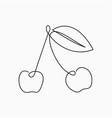cherry - one line drawing continuous line fruit vector image vector image