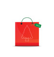christmas shopping bag isolated on white vector image