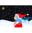 christmas star and girl vector image