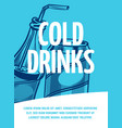 cold drink flyer jar and bottle vector image vector image