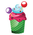 colorful cupcake with lollipop decoration on vector image vector image