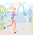 Cute girl jogging in the park vector image vector image
