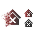 dispersed pixelated halftone wrong house icon vector image vector image