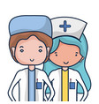 doctor and nurse to help people vector image vector image