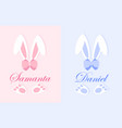 easter bunny name plate concept vector image