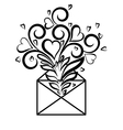 Envelope with floral design and hearts vector image vector image