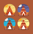 four teepee home native american with landscape vector image vector image