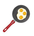fried eggs on frying pan isolated on white vector image vector image