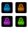 glowing neon password protection and safety vector image vector image