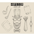 Hand drawn hipster accessories set vector image vector image