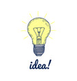 hand drawn light bulb with inscription idea vector image