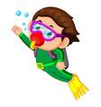 happy boy diving vector image vector image