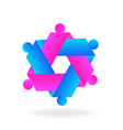 hexagon abstract teamwork icon vector image vector image