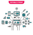 internet of things concept connected on mobile vector image vector image