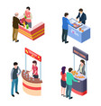 isometric tasting food and drinks at promotional vector image vector image