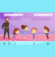 kids on figure skating training vector image