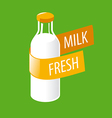 logo glass bottle with milk vector image vector image