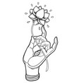 lord buddha hand with eye holding lotus flower vector image