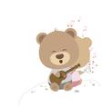 love concept couple teddy bear doll sing a song vector image vector image