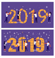 man and woman building a numbers 2019 vector image vector image