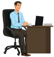 man at the Desk with laptop vector image